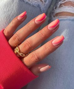 Summer Acrylic Nails, Best Acrylic Nails, Acrylic Nail Designs, Spring Nails, Coral Acrylic Nails, Pastel Nails, Summer Nails, Manicure Y Pedicure, Gel Nails