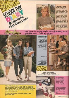 Teen Magazine August 1987 Fashion Advertorial Clothes, Hair, & Makeup Source by maria_booker 1987 Fashion, 80s And 90s Fashion, Teen Fashion, Retro Fashion, Vintage Fashion, Fashion Clothes, Vintage Style, 80s Ads, 1980s