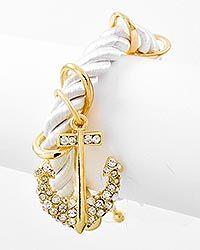 Gold Tone / Rhinestone & White Cord / Lobster-claw / Anchor Charm Bracelet