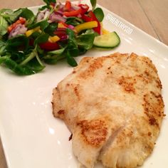Brill Fish and a salad!! The fish is marinated with ginger, cardamom, lemongrass and lemonjuice.