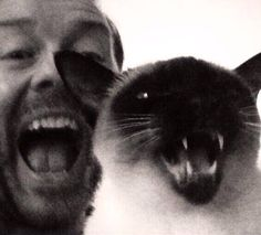 Ricky Gervais and his cat