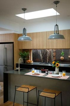 charcoal grey kitchen with light timber cabinets and industrial grey metal pendants over kitchen island Timber Kitchen, Grey Kitchen Cabinets, Kitchen Island, Dark Cabinets, Rustic Kitchen, Home Decor Kitchen, Kitchen Furniture, New Kitchen, Kitchen Ideas