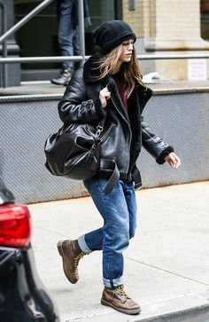 Keira Knightley Beats the Cold in Chic Shearling | winter style borrow from the boys