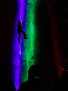 Lights installed behind frozen waterfall for Trippy scene - GearJunkie
