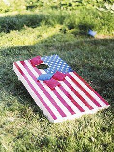 American flag-themed cornhole | Brides.com
