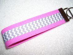 KEY FOBWrist Key ChainGray Chevron on Pink by PinkPinsandNeedles, $6.00