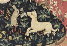 """Tenture de """"La Dame à la Licorne"""": la Vue. Paris, musée de Cluny - musée national du Moyen-Age."""