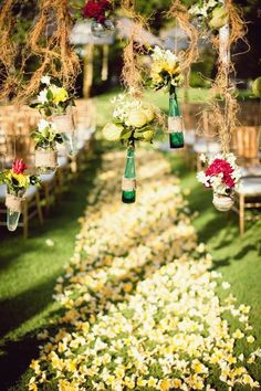 Decorations For Wedding Ceremony Hanging Bottle | visit www.lovelyweddingideas.com