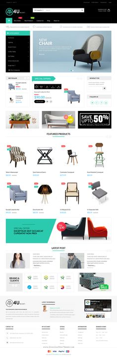 M4U is nice and clear design Opencart Theme for Multipurpose eCommerce website. It has 5 wonderful homepage layouts and great features. #furniture #decor #shop #webdesign