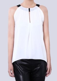 White Halter Sleeveless Chiffon Blouse #SheInside
