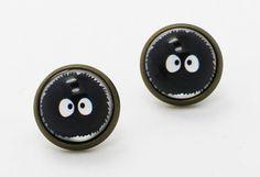 Makkuro Kurosuke Earrings Black Pompoms by boysenberryaccessory