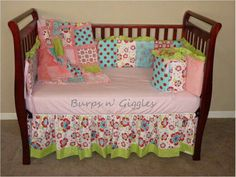 Red and aqua floral crib bedding