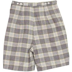 1950's Retro Shorts: 50s -Missing Label- Womens off white, shaded... (830 UAH) ❤ liked on Polyvore featuring shorts, plaid shorts, red plaid shorts, yellow high waisted shorts, yellow shorts and retro shorts