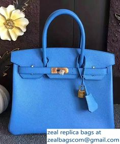 be72b096ab81 Hermes Birkin 30 35 Bag In Original Epsom Leather With Gold Silver Hardware  Blue