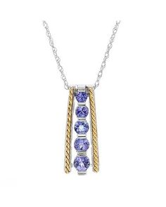 Product Name Ladies Tanzanite Necklace Designed In 14K Two Tone Gold at Modnique.com