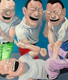 Happy Happy Yue Minjun by Michael Frew - People - Subject Yue Minjun, Funny Art, Chinese Painting, Contemporary Paintings, Urban Art, Thought Provoking, Oil On Canvas, Modern Art, Graffiti