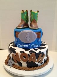 cowboy cake with john deere cowboy boots western Cowboy Boot Cake, Cowboy Cakes, Cowboy Boots, 4th Birthday Parties, 2nd Birthday, Carousel Cake, Western Parties, Cakes For Boys, Tiered Cakes