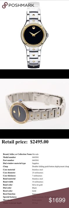 Authentic women's Movado diamond bezel watch Description is in the picture. I personally bought this. I still have the box and extra links. Authentic. Diamond  bezel Movado Accessories Watches