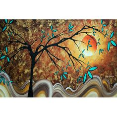 """East Urban Home 'Apricot Moon' by Megan Duncanson Graphic Art on Wrapped Canvas Size: 26"""" H x 40"""" W x 0.75"""" D"""