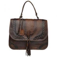 3c719cca9 BOLSAS CUADRA ~ Bolsa casual con tejido a mano y aplicación de cocodrilo  genuino Productos De