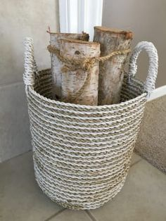 Charming form meets handy function in our small Bianca basket, handwoven in Indonesia of seagrass in a chic white and natural striped design. Bamboo Basket, World Market, Stripes Design, Hand Weaving, Hampers, Hand Knitting, Weaving
