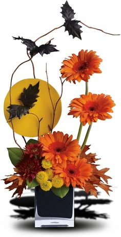 Bats incredible! Black bats fly above a full moon and spirited fall flowers in this fun Halloween floral arrangement. A stylishly spooky way to decorate your home or office for Halloween!