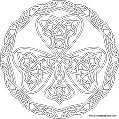 Shamrock knotwork to color- in jpg and transparent PNG format
