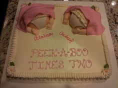 Peek-a-boo Times Two - Two baby butts on sheet cake for twin girls shower