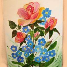 tablou romantic pictura originala, acril pe panza semnata Adelina Mărieş