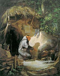 Eremit Huehnchen bratend (Carl Spitzweg) - Carl Spitzweg - Wikipedia