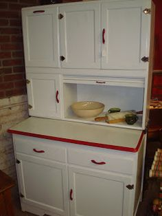 Colonial Square Antique Mall, LLC: White Hoosier Cabinet  Red Trim And  Hardware