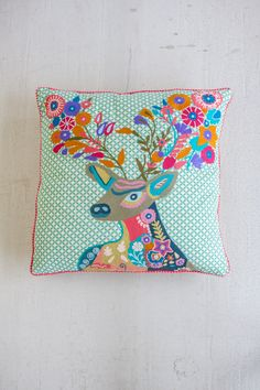 HAND STITCHED PILLOW MULTI COLORED DEER