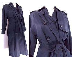 BURBERRY Jacket Womens Spy Trench Coat Navy Check England Long Dress