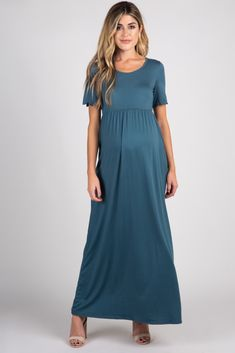 Teal Scalloped Sleeve Maxi Dress