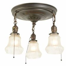 Colonial Revival 3-Light Pan W/ Delicately Molded Shades C1920 | Restored Lighting, Antiques & Vintage Finds from Rejuvenation