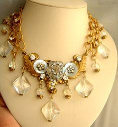 Art Deco necklace vintage style brass glass от ODMIVINTAGE на Etsy