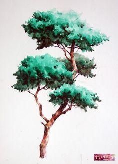 남일 수채화 Gallery Tree Watercolor Painting, Watercolor Paintings For Beginners, Watercolor Landscape, Landscape Drawings, Landscape Paintings, Art Drawings, Tree Photoshop, Indian Art Paintings, Plant Drawing