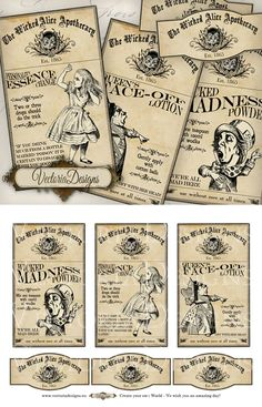 """Wicked Alice in Wonderland Apothecary Labels. You get: ° 3 high quality 300 dpi images (3"""" x 5.20"""") - large apothecary labels ° 3 high quality 300 dpi images (3.35"""" x 1.60"""") - small labels ° on one..."""