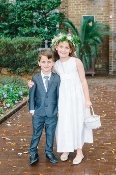 Flower girl ring bearer fashion, grey suit, little white wicker basket, flower crown // Aaron and Jillian Photography