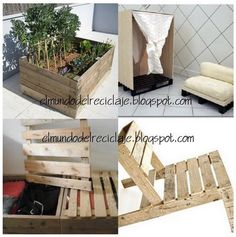 Garden planter made from reclaimed pallet wood.