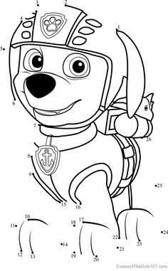 rubble dot to dot printable worksheet connectthedots101 | paw patrol coloring pages, dot