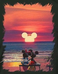 Mickey Mouse and Minnie Mouse Sunset - . - Disney Mickey Mouse an Disney Magic, Art Disney, Disney Kunst, Disney Artwork, Disney Ideas, Disney Mickey Mouse, Mickey Mouse Kunst, Disney Cars, Mickey Mouse Quotes