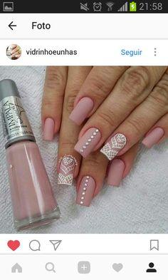 Bling Acrylic Nails, Lace Nails, Pink Nails, Hair And Nails, My Nails, Bridal Nail Art, Nails Only, Elegant Nails, Nail Decorations