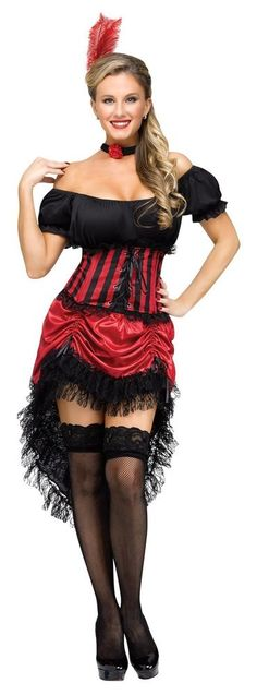 Wild West Saloon Can Can Dancer Burlesque  Girl Adult Women's Costume S Medium L