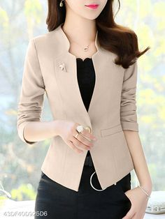 V Neck Single Button Plain Blazers-Berrylook 99 Stylish Blazer Outfits Ideas For Women Women S Fashion For Broad Shoulders Women S Fashion With Sneakers Info: 9495398360 Are you bored by wearing same type of dress every day for your offices? Blazer Outfits, Blazer Fashion, Suit Fashion, Fashion Outfits, Blazer Dress, Dress Outfits, Cheap Fashion, Work Fashion, Casual Blazer Women