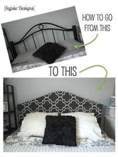 DIY headboard cover using a shower curtain, Command strips and two safety pins! Get the look using your existing headboard for only $20! | sypsie.com