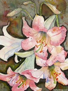 Pink Lily Watercolors Original Flower Paintings of Lilies    ...BTW,Please Check this out:  http://artcaffeine.imobileappsys.com