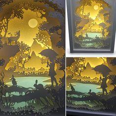 Silhouette Forest trip paper cut Light box Night by trysogodar