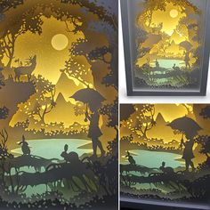 Silhouette Forest trip paper cut Light box Night by trysogodar