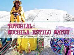 How to knit a Wayuú style backpack step by step Love Crochet, Diy Crochet, Mochila Tutorial, Tapestry Crochet Patterns, Fabric Patterns, Crochet Purses, Knitted Bags, Handmade Bags, Knitting Yarn